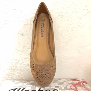 Shoes - Faux Suede Flats - Taupe Tan
